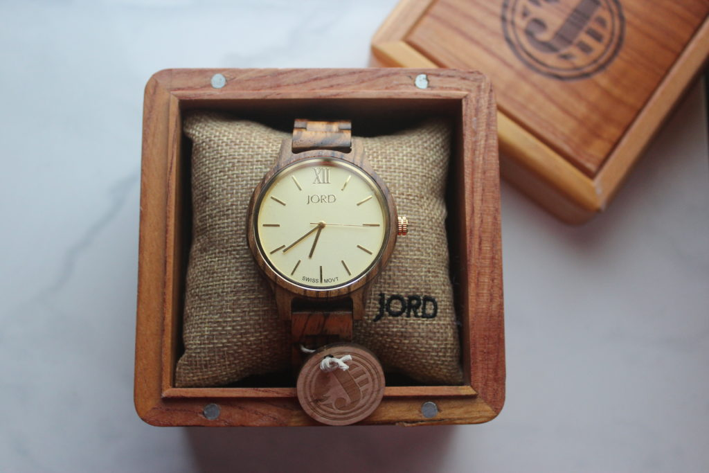 JORD Frankie Zebrawood & Champagne wood watch