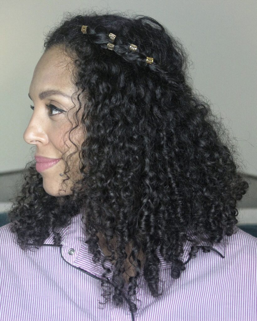 Braided Curly Half Up Hairstyle