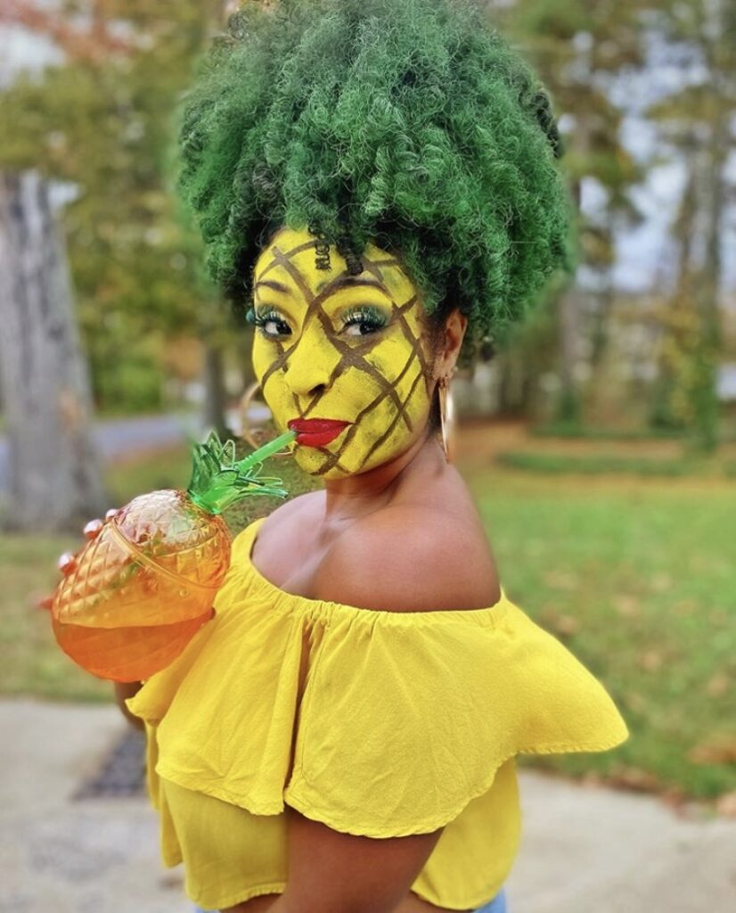 Curly pineapple costume, Fineapple last minute halloween ideas for curly hair