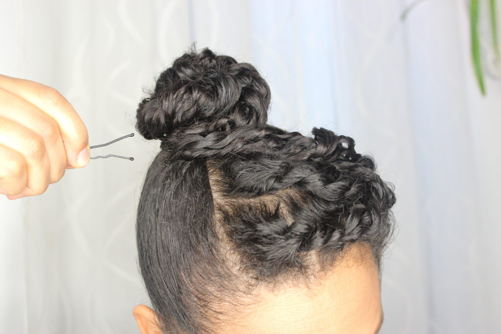 Curly updo with bobby pin